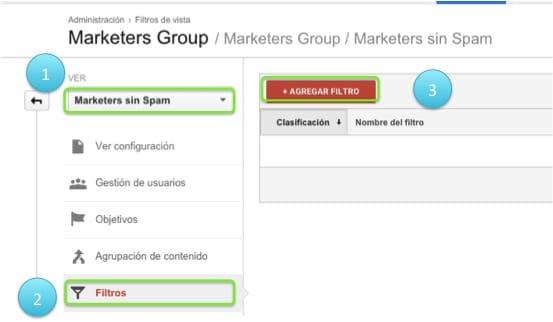 Crea el filtro anti spam - Paso 1