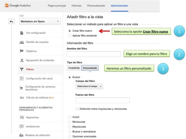 Crea el filtro anti spam - Paso 2